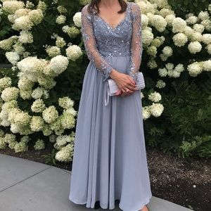 Gray Sequined Mori Lee Evening Dress